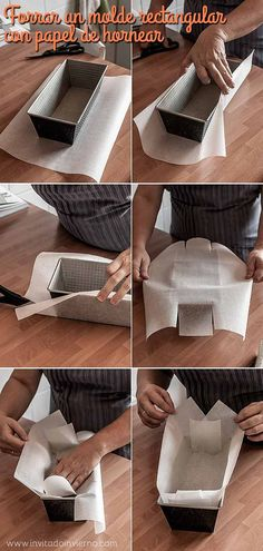 Cómo forrar con papel un molde rectangular / how to line a cake pan with parchment paper Baking Packaging, Bread Packaging, Dessert Packaging, Food Packaging Design, Cake Cookies, Cupcake Cakes, Cupcakes, Decoration Patisserie, Bakery Business