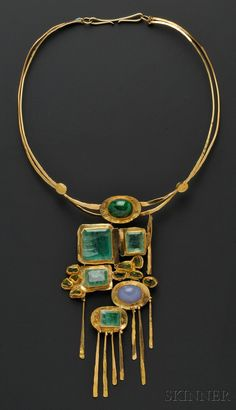 Miye Matsukata, Janiye, c. 1978. 24kt and 18kt Gold Gem-set Necklace designed as a plaque of bezel-set emeralds, peridot, and blue chalcedony, and green hardstone cabochon, suspended from a torque, plaque lg. 6 in., signed.