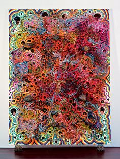 Chris Ofili - Afrodizzia - 1996. I like the colours because there is a lot going on so it makes you think about what's really going on, to me this is curls and swirls of colours whereas to someone else it could mean more, I like that there is a variety of colours because it makes the piece look more excited and there is more to look at so you will spend more time focussing on what's really happening