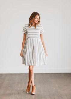Tailored Blue Stripe Dress