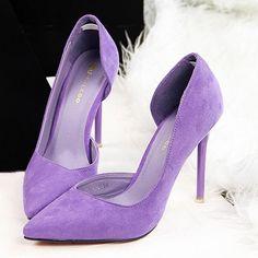 Faux Suede Women Pumps High Heels Women Shoes Fashion Lady Shoes Pointed Toe Thin Heels Ladies Shoes 2018 New Party Shoes Woman Lila High Heels, Purple High Heels, Black High Heels, High Heel Pumps, Women's Pumps, Stilettos, Women's Shoes, Lingerie Heels, Feminine Fashion