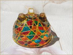 RichanaDragon     Glass bowl. Сan be used as dinnerware, as a bowl candle holder, small LED shade or jewelry storage (holder). Hand painted stained glass.