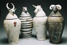 / > looks like the inspiration was Egyptian canopic jars Ceramic Boxes, Ceramic Jars, Ceramic Clay, Ceramic Pottery, Pottery Art, Ceramic Animals, Clay Animals, Canopic Jars, Ceramic Figures