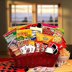 Fun & Games Gift Basket-Fun times here we come! Send this fun filled and sweet treats gift basket to someone special today. A unique gift appropriate for many occasions we've included an assortment of fun and games as well as sweet treats. Get Well Gift Baskets, Get Well Gifts, Game Basket, Basket Ideas, Basket Gift, Basket Crafts, Chocolates, Raffle Baskets, Fundraiser Baskets