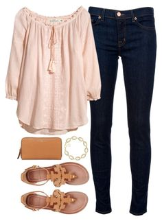 """sandals to school"" by tabooty ❤ liked on Polyvore featuring J Brand, Tory Burch and Kendra Scott"
