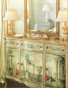 View #3:  Italian painted dresser--WOW!