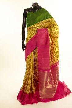 Kancheepuram, Kanjipuram- silk sunflower yellow saree with blouse