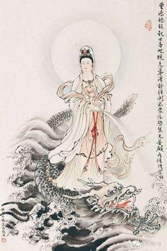 乘龍觀音 Buddha Painting, Buddha Art, Japanese Mythical Creatures, Asian Artwork, Chinese Buddhism, Goddess Tattoo, Thai Art, Guanyin, Chinese Art