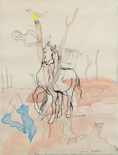 Francis Picabia (French, 1879-1953), Transparence au cheval. Pencil, ink, charcoal and gouache, 49 x 37cm.