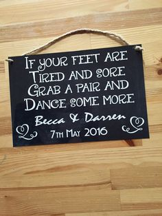 If your feet are tired and sore, grab a pair and dance some more. Personalised aluminium wedding sign for flip flops for guests by PrintMeWright on Etsy