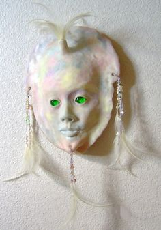 Wall Sculpture Art Mask Light Translucent by JanePriserArts, $48.00