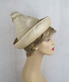 f453764d740b7 Vintage Hat Beige Cello Straw Cone by Michael Terre from Alley Cats Vintage  on Ruby Lane
