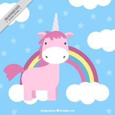 Adorable unicornio rosa con arcoiris y nubes Vector Gratis