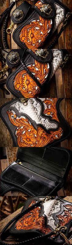 Handmade leather biker trucker wallet black floral leather chain men Carved Tooled wallet