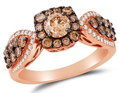 14K Rose Gold Chocolate Brown & White Round Diamond Engagement Ring – Prong Set Flower Center Setting Shape with Channel Set Side Stones (1.42 cttw.) – Marketplace Jewelers