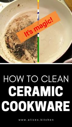 Are you worried to clean ceramic cookware? Don't worry below youll find Cleaning Burnt Pans, Cleaning Baking Sheets, Household Cleaning Tips, Kitchen Cleaning, Kitchen Tips, Deep Cleaning, Clean Burnt Pots, Clean Pots, Ceramic Bakeware
