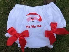 "'Ho Ho Ho' Santa Bloomers Christmas Picture Prop Price: $10.99 With Free Standard Shipping  Options: 0-2T This adorable Christmas bloomer is embellished with ""Santa.""  Red  satin bows add an extra touch of cuteness. These Christmas bloomers will be perfect for photos, or wearing under Christmas dresses, petti skirts, or tutus.  To purchase, comment ""Sold and option (eg. size/color)"" Register here to get your invoice: https://www.soldsie.com/pin/571402"