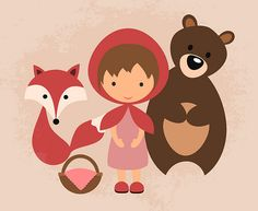Woodland friends (vector, Inkscape) Big Teeth, Woodland Creatures, Red Riding Hood, Little Red, Fairy Tales, Hello Kitty, Disney Characters, Fictional Characters, Minnie Mouse