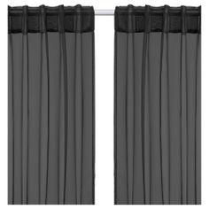 SARITA Sheer curtains, 1 pair - black - IKEA
