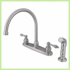 Today Buy - Elements of Design EB728ALSP - Goose Neck Centerset Kitchen Faucet With Spray