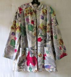 Women's vintage cotton smock jacket with fish print L – XL Bernice de Taxco (so happy to have found this one!)
