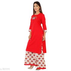 Kurta Sets Women's Printed Rayon Kurta set with Palazzos Fabric: Kurti - Rayon, Palazzo - Rayon Sleeves: Sleeves Are Included Size: Kurti - M - 38 in, L - 40 in, XL - 42 in, XXL - 44 in, Palazzo - M - 30 in, L - 32 in, XL - 34 in, XXL - 36 in Length: Kurti - Up To 46 in, Palazzo - Up To 38 in Type: Stitched Description: It Has 1 Piece Of Kurti With 1 Piece Of Palazzo  Work: Kurti - Printed, Palazzo - Printed Sizes Available: M, L, XL, XXL This product has very limited stock. Order fast!   Catalog Rating: ★4 (302)  Catalog Name: Women's Printed Rayon Kurta Sets CatalogID_209526 C74-SC1003 Code: 594-1611111-