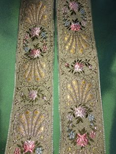 Vintage Gold and Light Green Brocade Ribbon, France, 1 1/2 inches wide, heavy by PromenadeFabrics on Etsy