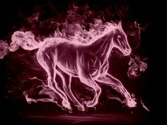 pink flaming horse