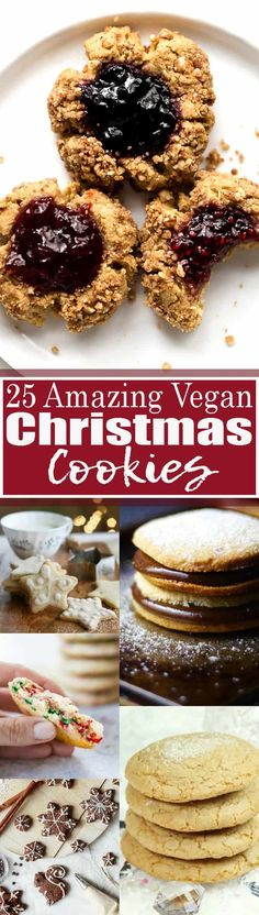 looking for vegan Christmas cookies this is the right place for you! All of these recipes are vegan and a lot of them are also gluten-free and low in sugar. Find more vegan Christmas recipes at Vegan Christmas Cookies, Christmas Recipes, Holiday Recipes, Christmas Christmas, Vegan Dessert Recipes, Cookie Recipes, Delicious Desserts, Vegan Treats, Vegan Snacks