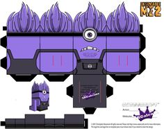 I saw the Purple Evil Minions and had to try and create one. The arms are driving me nuts just because they are not normal cubeecraft arms. Despicable Me Evil Purple Minion Part 1 Despicable Me Party, Minions Despicable Me, Minion Party, 3d Paper Crafts, Paper Toys, Fun Crafts, Evil Minions, Cute Minions, Minion Stuff