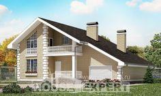 190-005-П Проект двухэтажного дома с мансардным этажом, гараж, простой домик из твинблока