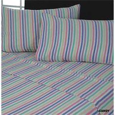 Flannelette Flat Sheet Set Candy Stripe