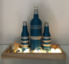 Wrapped bottles blueX-mas
