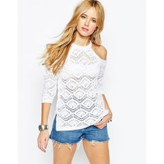 ASOS Crochet Sweater With Cold Shoulder featuring polyvore, women's fashion, clothing, tops, sweaters, white, open shoulder top, asos, white crochet sweater, asos sweaters and cut-out shoulder tops