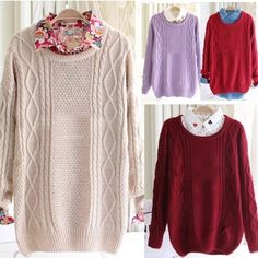 Vintage Women Girl Round Neck Twisted Knitted Sweater Pullover Jumper