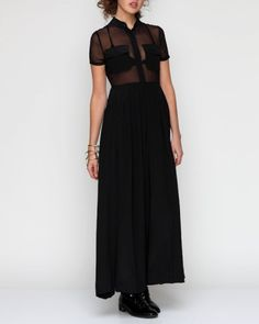 Silk maxi dress, with shirtdress styling and dramatic high slits. Features sheer upper with bust pockets and button front placket, and long pleated (:fold; to arrange in pleats) skirt.  -Liyana A. Wong FMM1B1