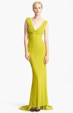 Oscar de la Renta Draped Velvet Gown