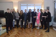 Danny Lopez (HM Consul General in New York and Director General, UK Trade & Investment USA), Dylan Jones (British GQ) & Caroline Rush (BFC) with the designers  at The British Residence in New York to celebrate British menswear and to announce the Show Schedule for London Collections: Men