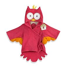 image of Baby Aspen My Little Night Owl Hooded Terry Spa Bathrobe in Pink