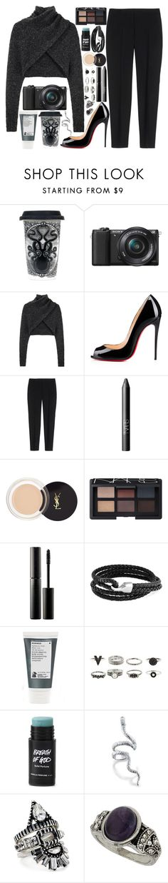 """""""I can't help it"""" by velvet-ears ❤ liked on Polyvore featuring Sourpuss, Sony, Alexander Wang, Christian Louboutin, Theory, NARS Cosmetics, Yves Saint Laurent, Surratt, Bling Jewelry and Korres"""