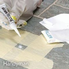 Repairing Vinyl Flooring You can fix small tears, burns and gouges in a vinyl floor in less than 30 minutes. An inexpensive kit contains all the materials you need to make the ugly blemish disappear. The Family Handyman Vinyl Tile Flooring, Vinyl Tiles, Penny Flooring, White Flooring, Terrazzo Flooring, Rubber Flooring, Bedroom Flooring, Laminate Flooring, Luxury Vinyl Tile