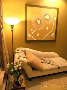 Yellow Feng Shui Designed Room with Flower Wall Art