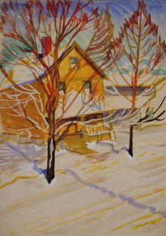 Charles E. Burchfield (1893-1967), Noon Sunlight in Winter, 1917