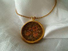 Vintage Rose Etched TriColor Pendant Fine by vintageheartstrings, $15.00