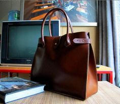 Hand Stitched Leather Tote / Doctor Bag / Lady Bag / Shoulder Bag in Retro Brown $175.00, via Etsy.
