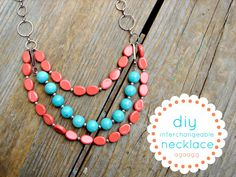 coral and blue necklace - A girl and a glue gun