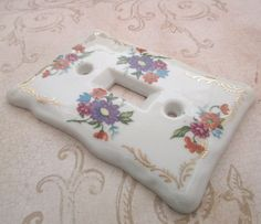 Light Switch Cover 1970s Ceramic switch plate by TheBeadSource