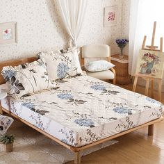 Cheap plants and flowers, Buy Quality flower print directly from China cover covers Suppliers: Papa&Mima Fitted Sheet Pillowcase Sheets Set Plants and flowers print Quilted Mattress Cover Cheap Plants, Mattress Covers, Sheet Sets, Flower Prints, Interior Inspiration, Pillow Cases, Toddler Bed, Home And Garden, Furniture