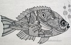 The Blackwork Fish Project (you can see a larger version on Needle 'n Thread). Getting ready to launch into another (much different) black & white project! Art Journals,Cross stitch and Embroidery,Needle Art,Zentangle,Ze Motifs Blackwork, Blackwork Embroidery, Folk Embroidery, Learn Embroidery, Japanese Embroidery, Embroidery Stitches, Embroidery Patterns, Embroidery Sampler, Bordado Popular