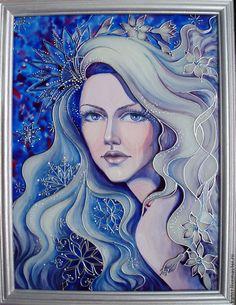 """Купить Картина """"Снежная любовь моя..."""" - синий, девушка, картина, купить картину"""